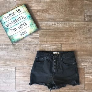 Madewell High Rise Distressed Black Jean Shorts